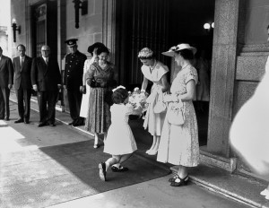 Presenting flowers to The Queen outside Brisbane City Hall in March 1954